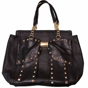 Betsy Johnson large tote studded bow black gold